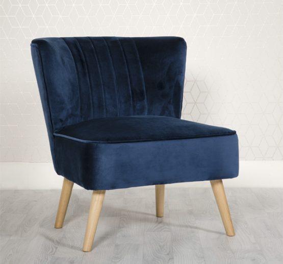 Louis Blue Velvet bedroom chair