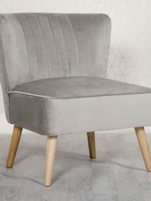 Louise Grey Velvet Compact Lounge Chair