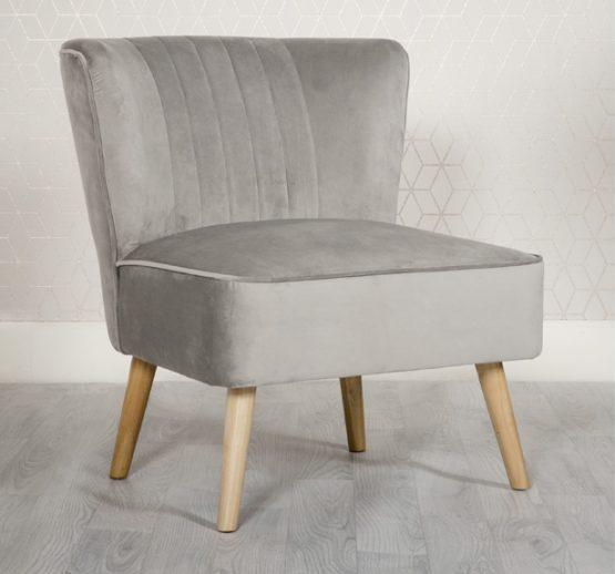 Louis Grey Velvet Bedroom chair