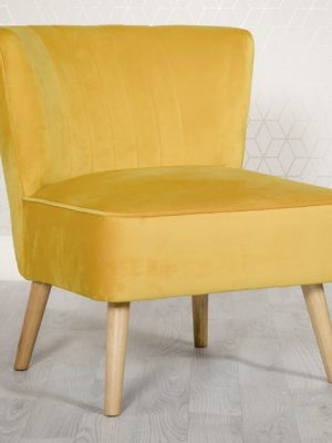 Louise Yellow Velvet Compact Lounge Chair