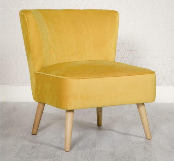 Louis Yellow Velvet Bedroom chair