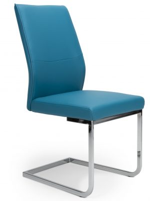Seattle Teal Blue Leather and Chrome Cantilever Dining Chair