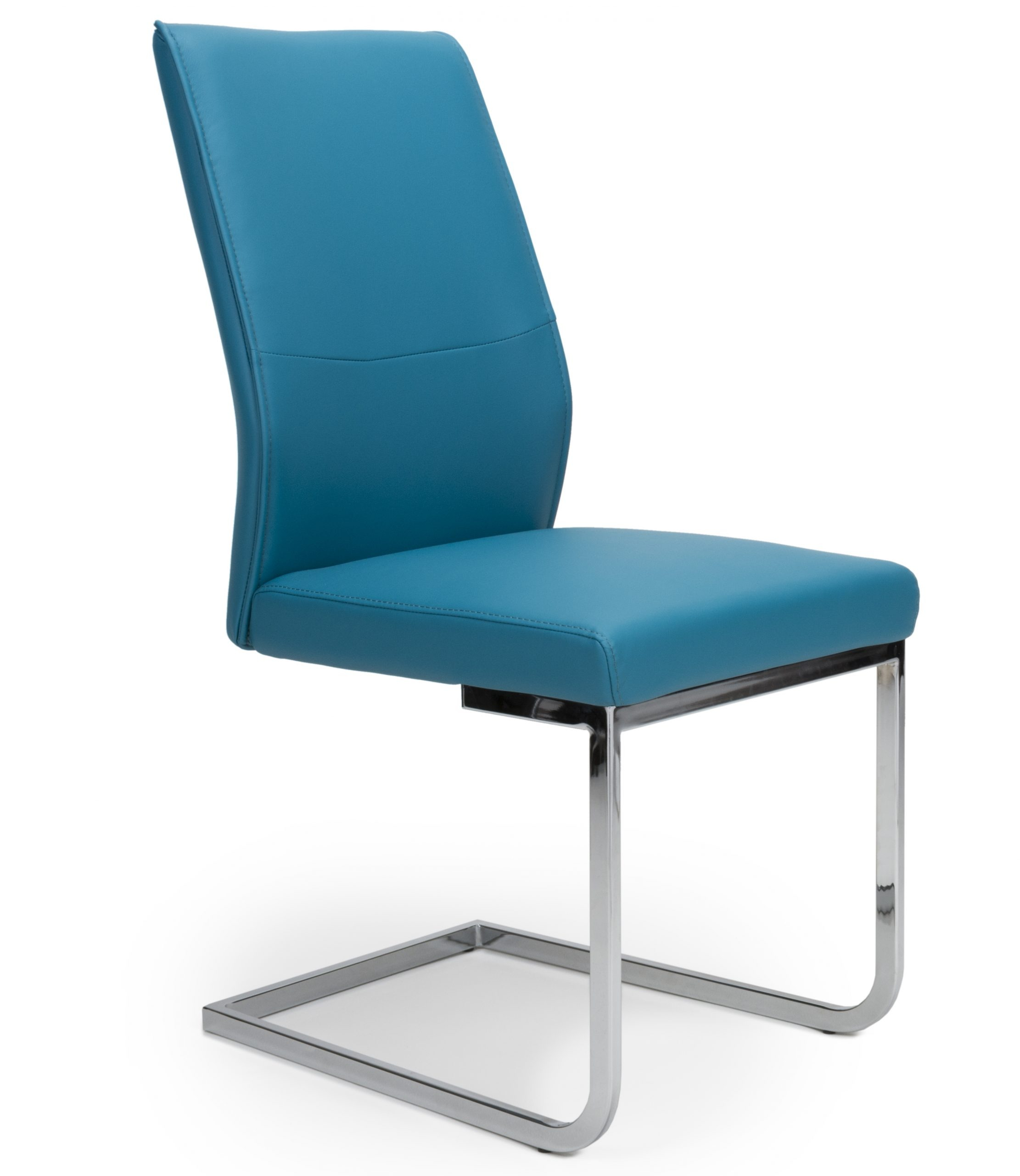 Franklin Teal Blue Leather Cantilever Dining Chair