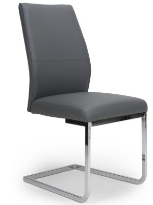 Seattle Dark Grey Leather and Chrome Cantilever Dining Chair