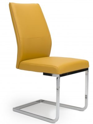 Seattle Yellow Leather and Chrome Cantilever Dining Chair