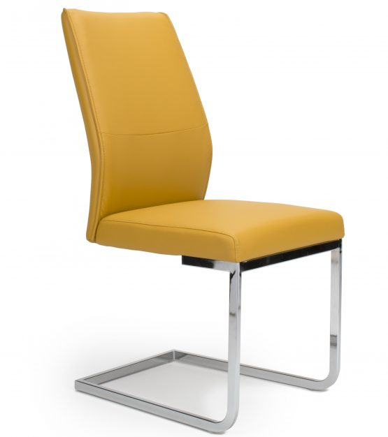 Seattle Yellow Leather Cantilever dining chair