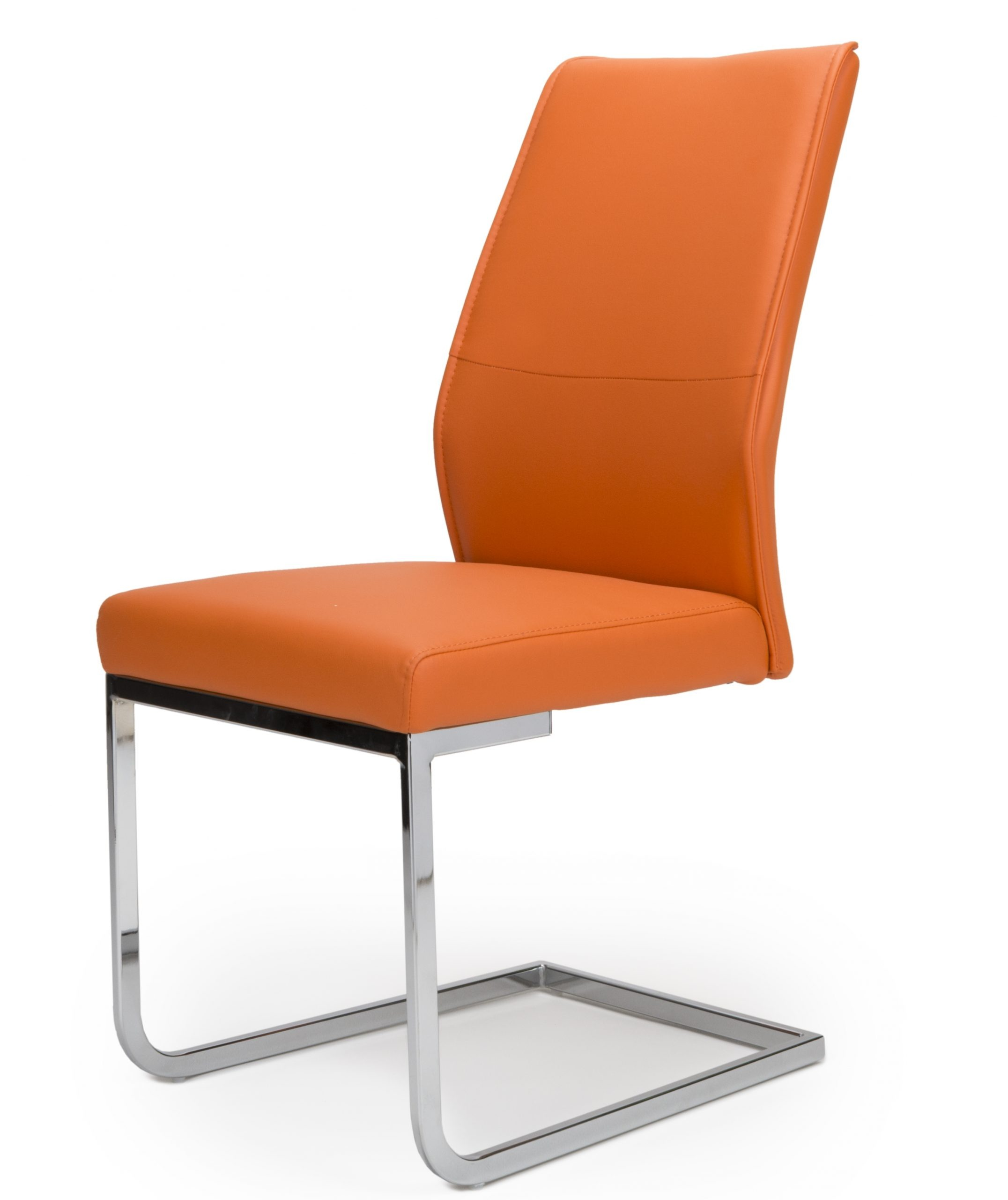 Seattle Orange Leather cantilever dining chair