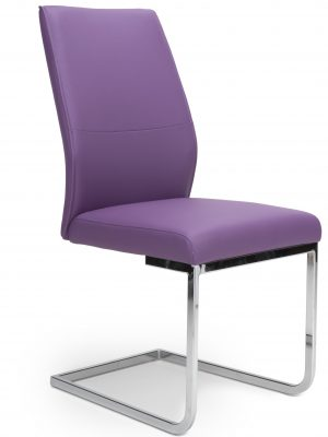Seattle Purple Leather and Chrome Cantilever Dining Chair