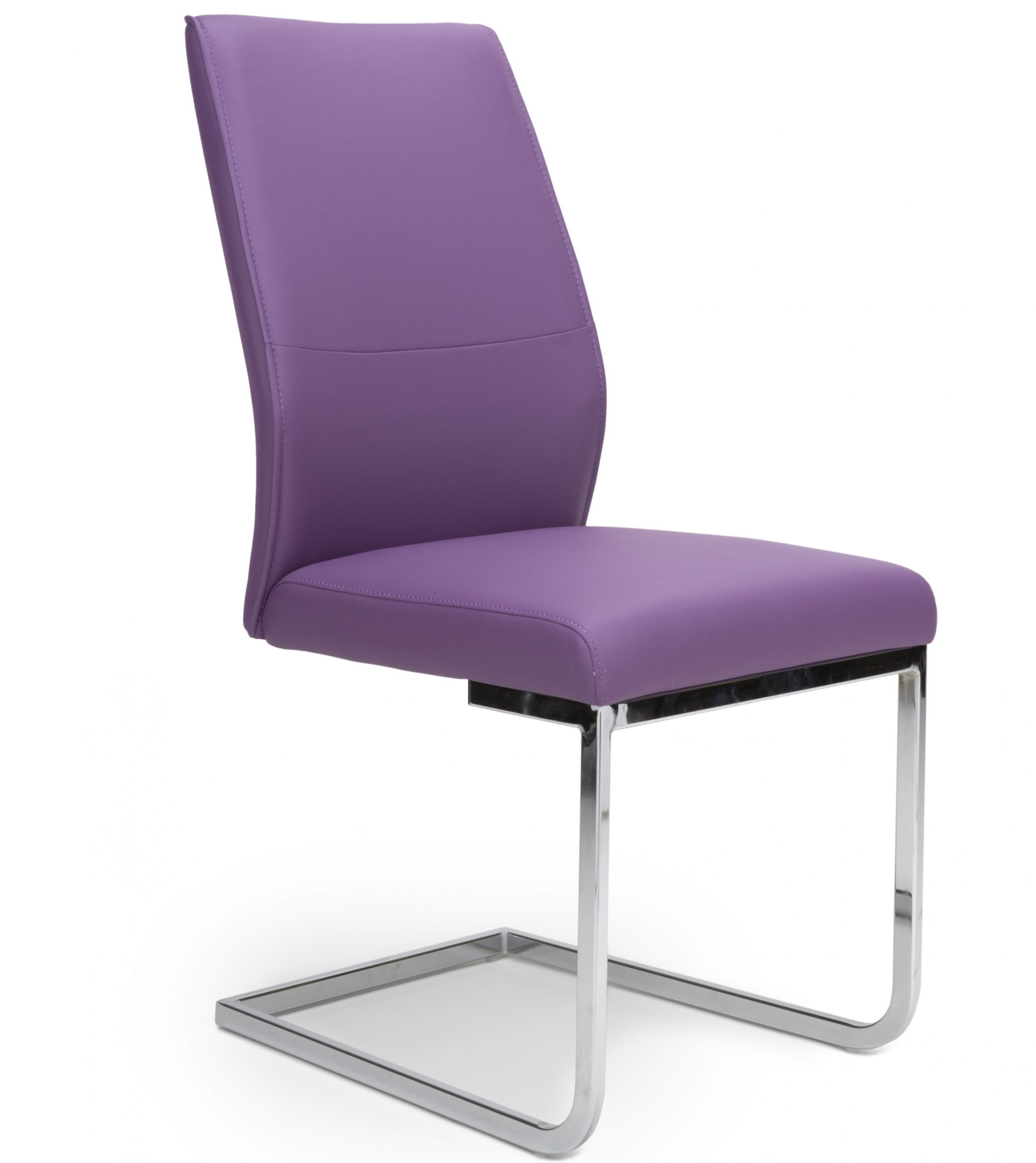 Seattle Purple Leather cantilever dining chair