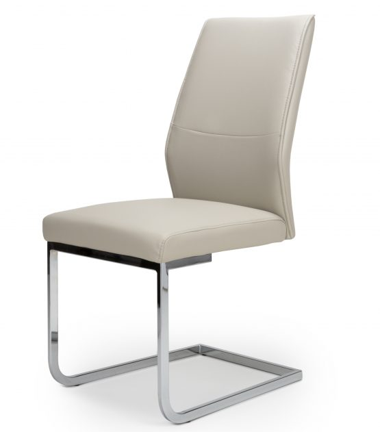 Seattle Taupe Leather Cantilever dining chair