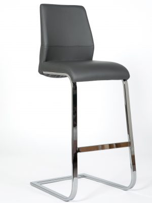 Seattle Dark Grey Leather and Chrome Cantilever Bar Stool
