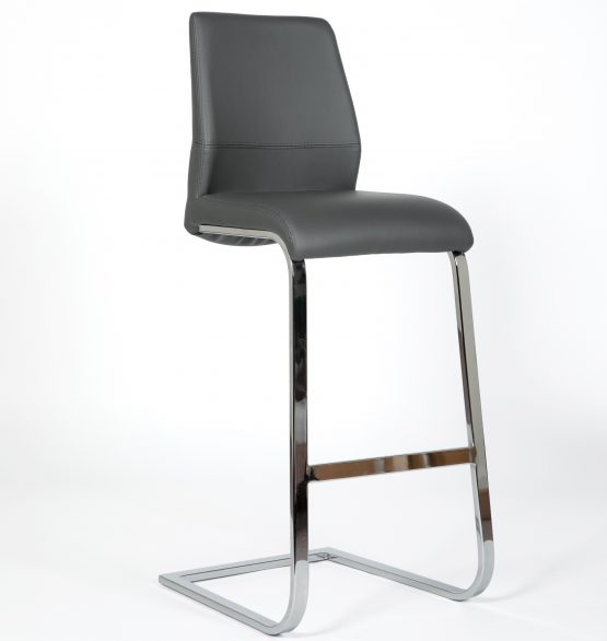Seattle Grey leather cantilever and chrome bar stool