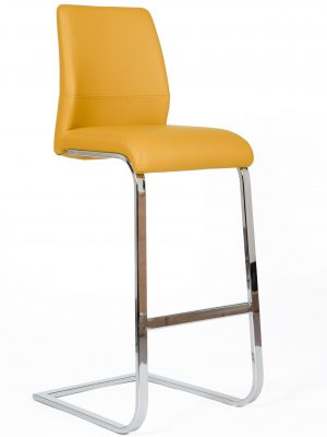 Seattle Yellow Leather and Chrome Cantilever Bar Stool