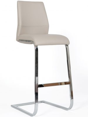 Seattle Taupe Leather and Chrome Cantilever Bar Stool