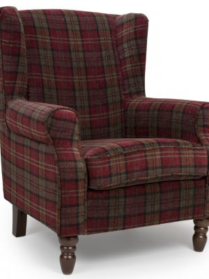 Shetland Claret Red Tartan Fabric Wing Back Arm chair