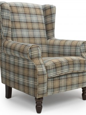 Shetland Dove Grey Tartan Fabric Wing Back Arm chair