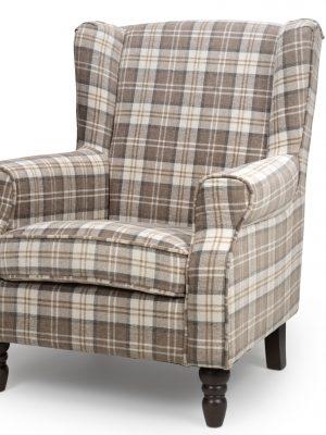 Shetland Latte Tartan Fabric Wing Back Arm chair