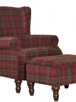 Shetland Red Tartan Fabric Wing Back Arm chair, (with or without footstool).