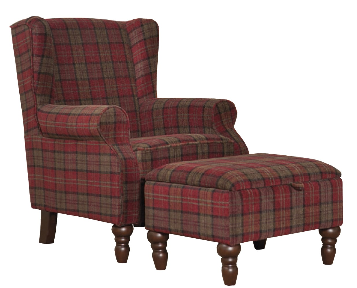 Shetland Red Tartan Arm chair