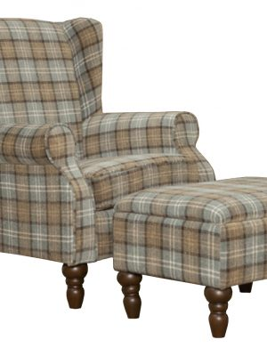 Shetland Grey Tartan Fabric Wing Back Arm chair, (with or without footstool).