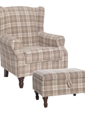 Shetland Latte Tartan Fabric Wing Back Arm chair, (with or without footstool).