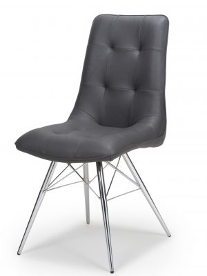 Tampa Dark Grey Leather Eames Style Modern Dining Chair