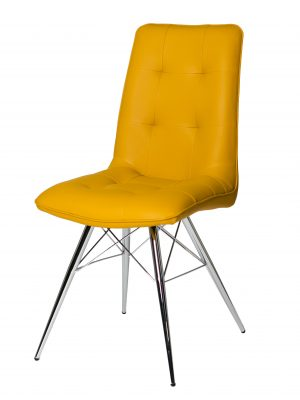 Tampa Yellow Leather Eames Style Modern Dining Chair