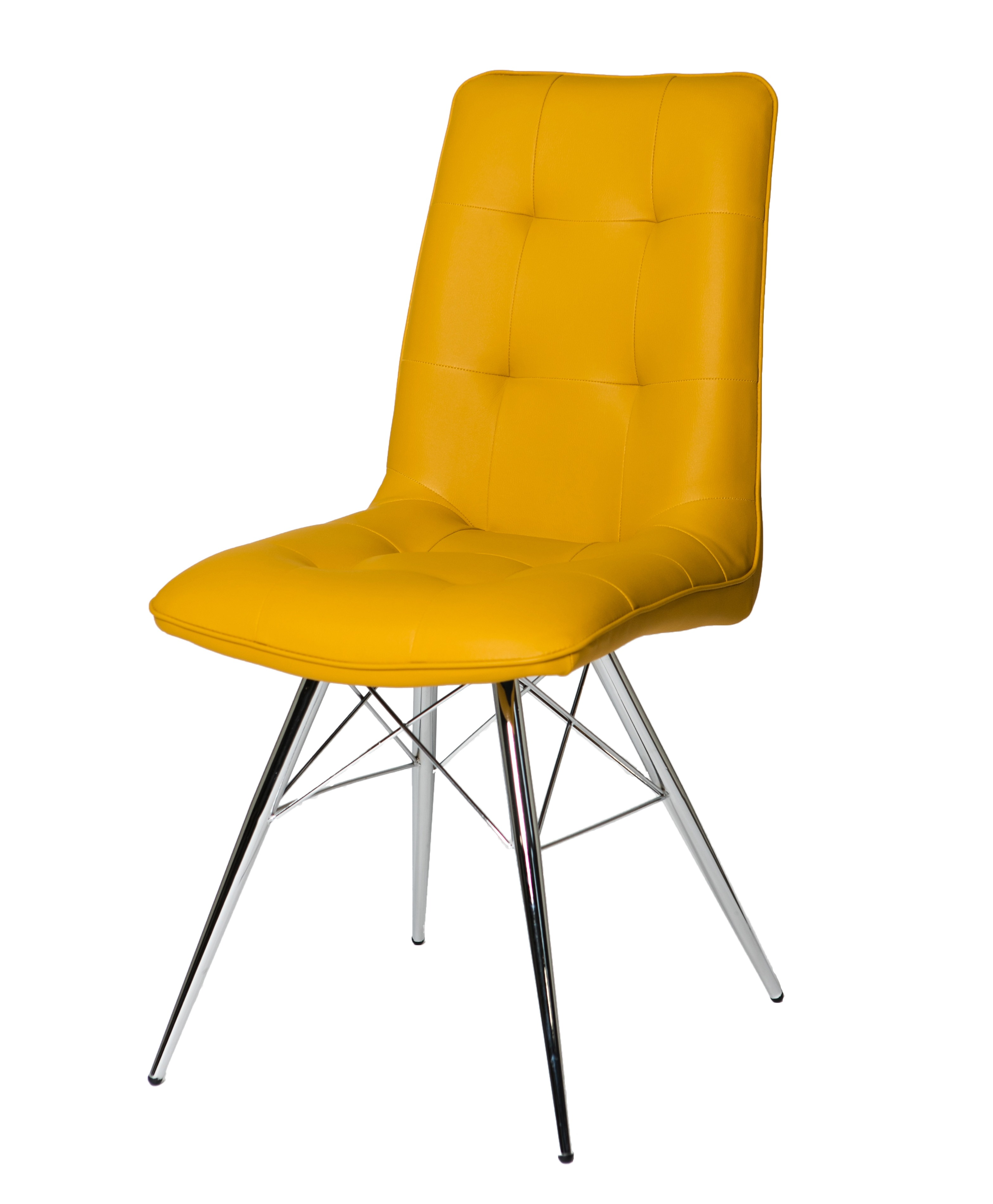 Tampa Yellow Leather Eames Style Dining chair