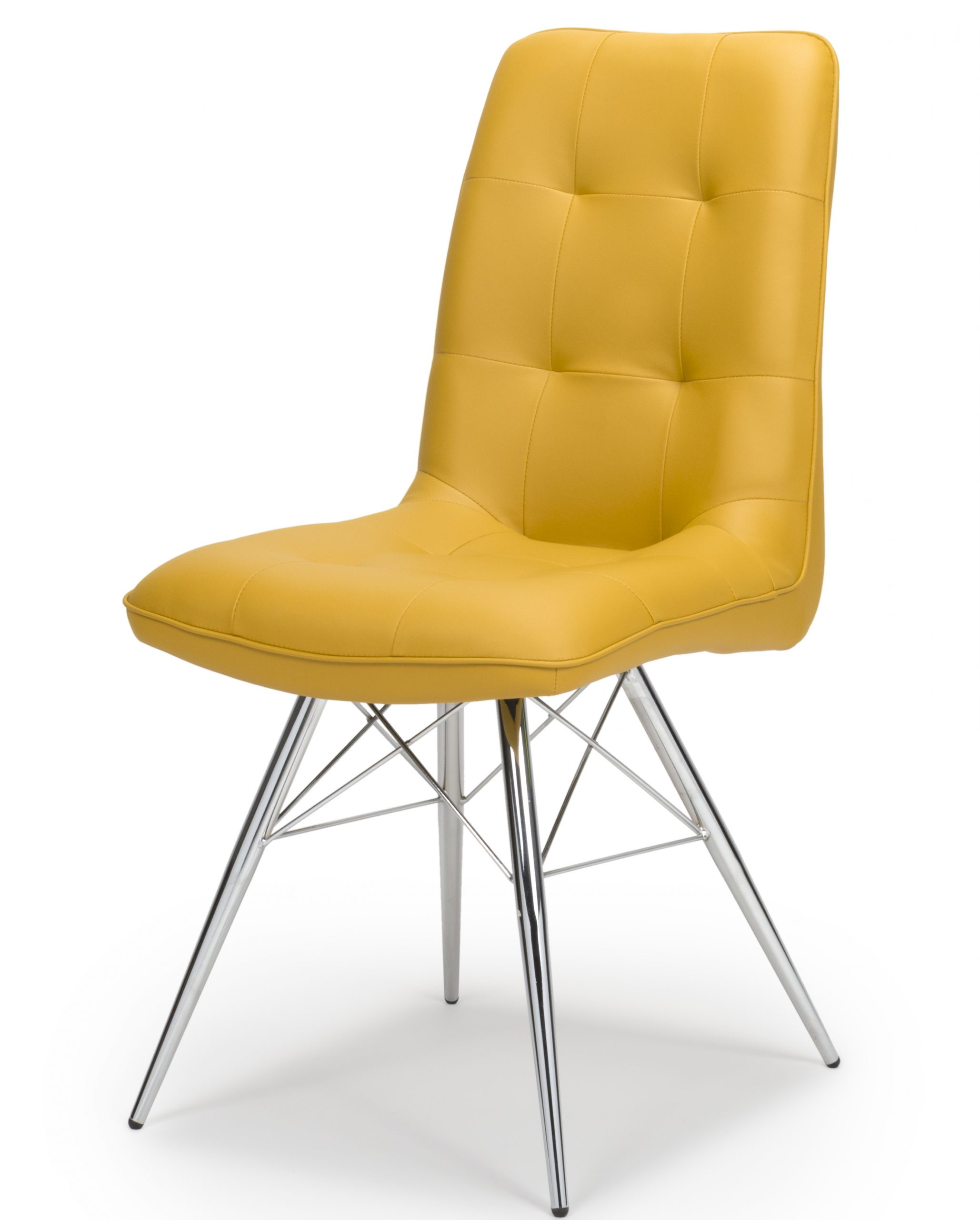 Tampa Yellow Leather Eames Dining Chair
