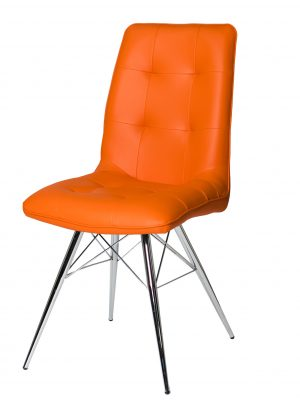 Tampa Orange Leather Eames Style Modern Dining Chair