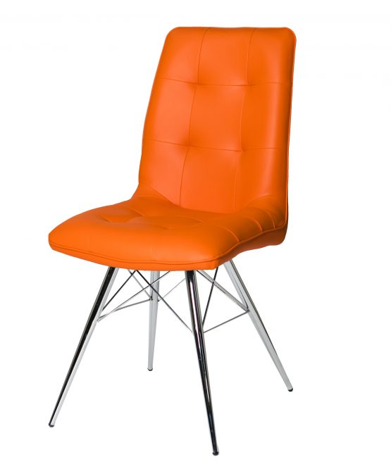 Tampa Orange Leather Eames style dining chair