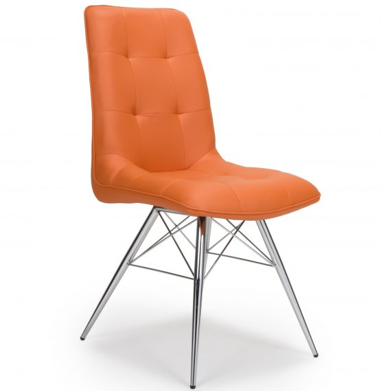 Tampa Orange Leather Eames Dining Chair