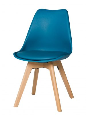 Urban Blue Molded Dining Chair with Beech Legs