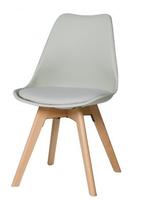 Urban Grey Molded Dining Chair with Beech Legs