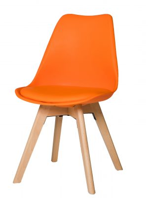 Urban Orange Molded Dining Chair with Beech Legs