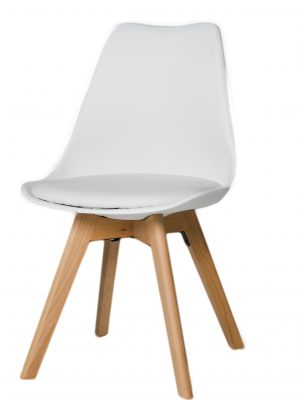 Urban White Molded Dining Chair with Beech Legs