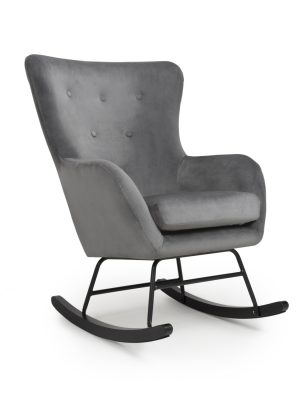 Alpine Grey Brushed Velvet Rocking Chair