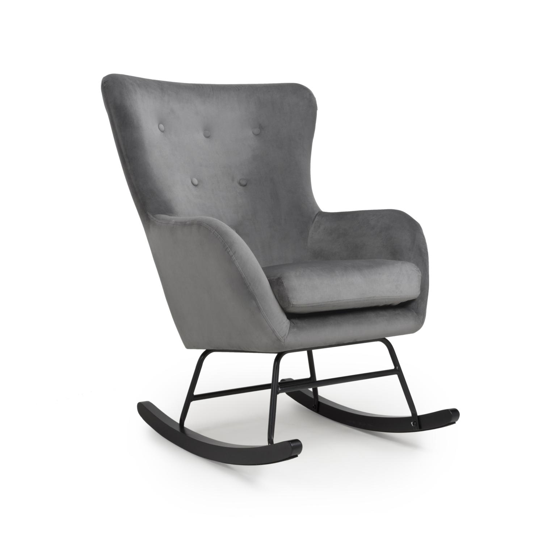 Alpine Grey Velvet Rocking Chair