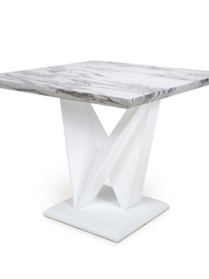 Saturn Square Marble Effect And White High Gloss Modern Dining Table