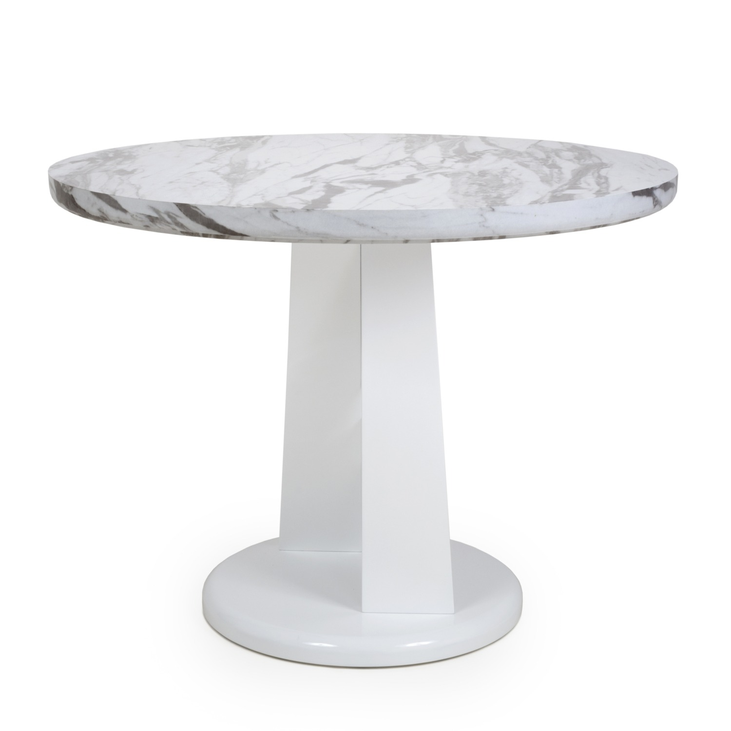 Saturn Round Marble Effect And White High Gloss Modern Dining Table