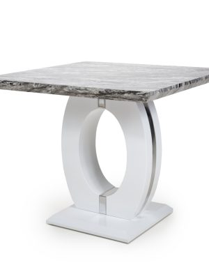 Athena Marble Effect And White High Gloss Modern Square Dining Table