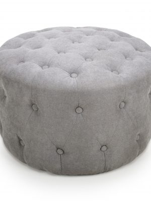 Verona Grey Chenille Small Round Pouffe Footstool