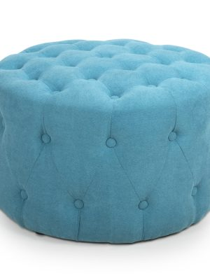 Verona Turquoise Chenille Small Round Pouffe Footstool