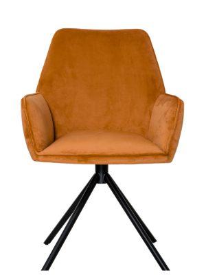 Uno Brick Orange Velvet Contemporary Carver Chair