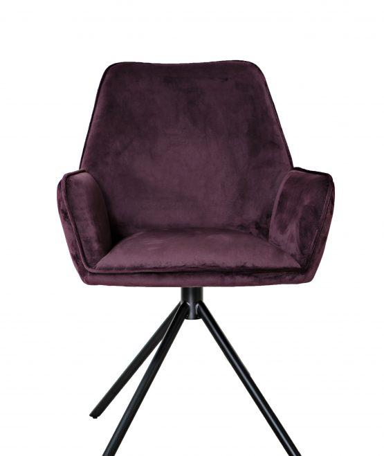Uno Mulberry Purple velvet carver dining chair