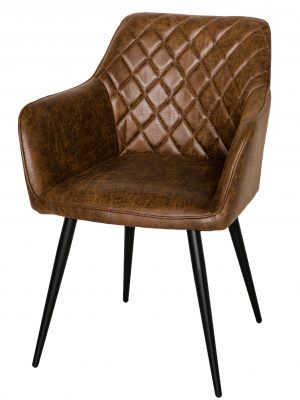 Harley Quilted Vintage Brown Leather Carver Dining Chair