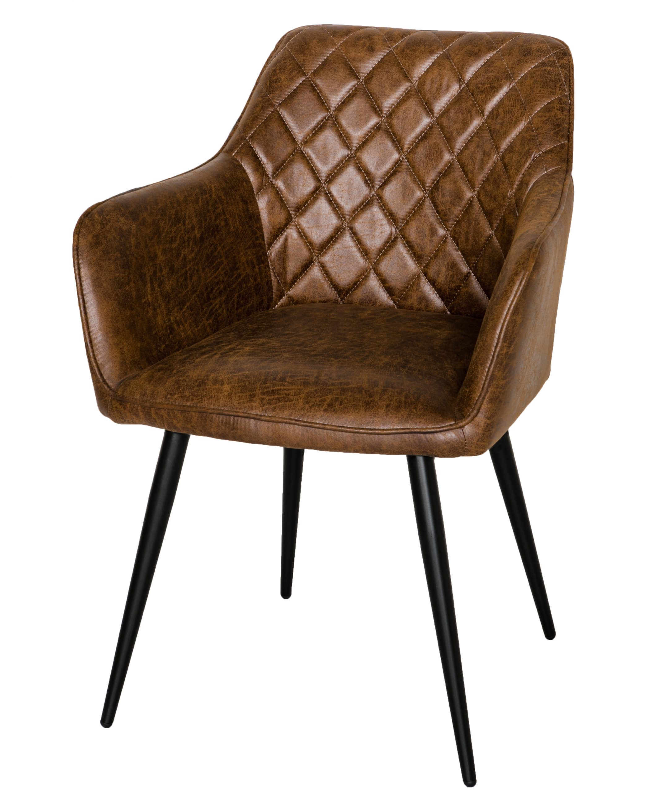 Harley Vintage brown leather carver dining chair