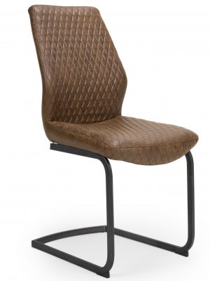 Harley Quilted Vintage Brown Leather Cantilever Dining Chair