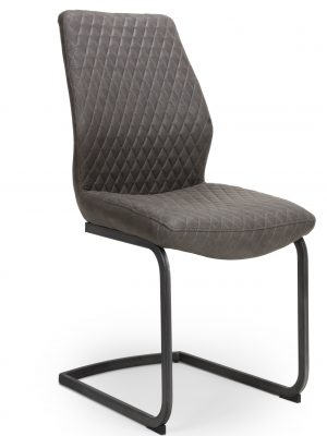 Harley Quilted Vintage Grey Leather Cantilever Dining Chair