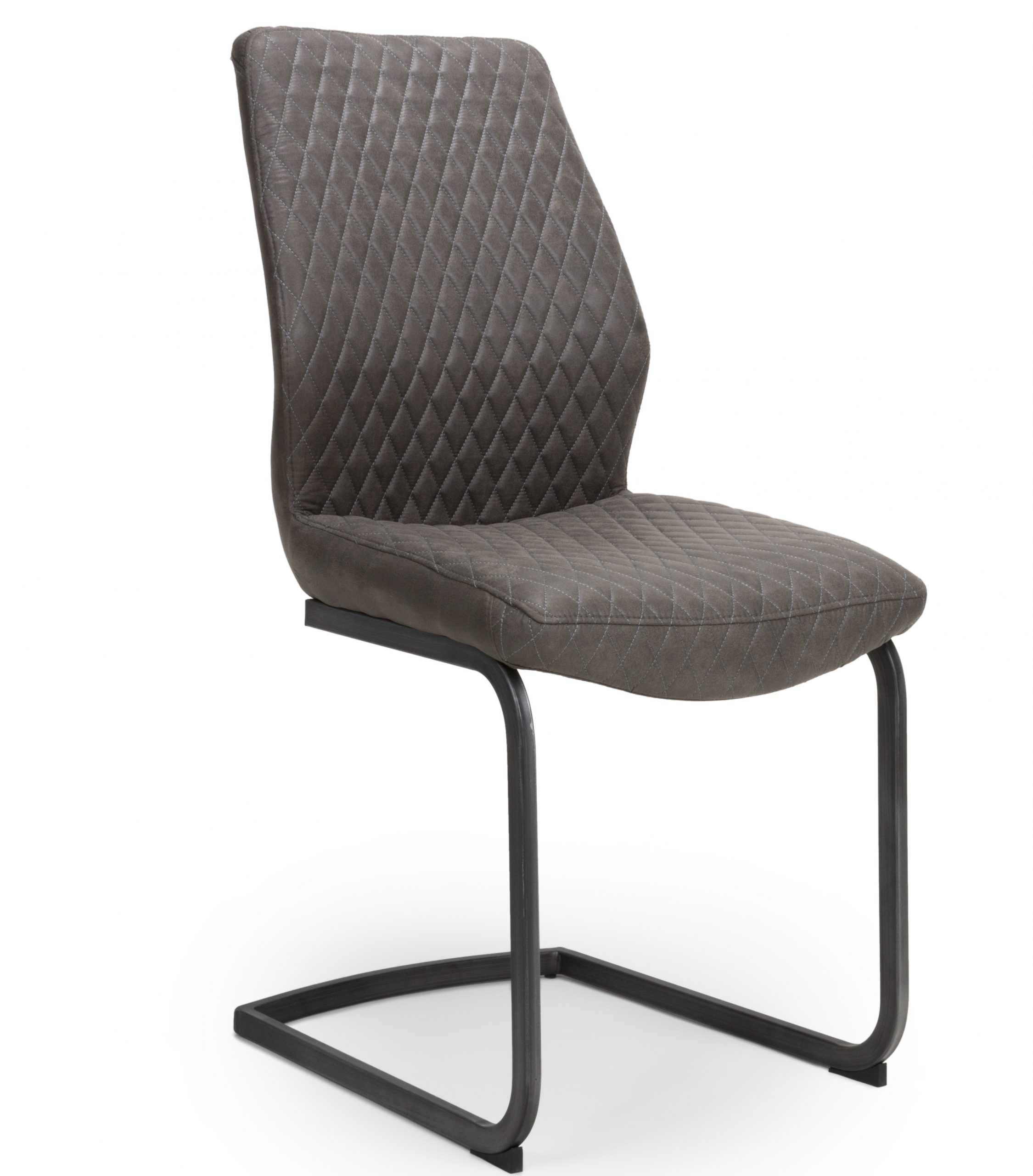 Harley Grey leather cantilever dining chair
